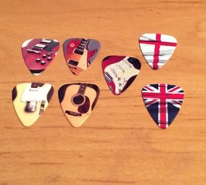 Grover Allman British / English Flag, Classic Guitar Picks Pack of 7 New