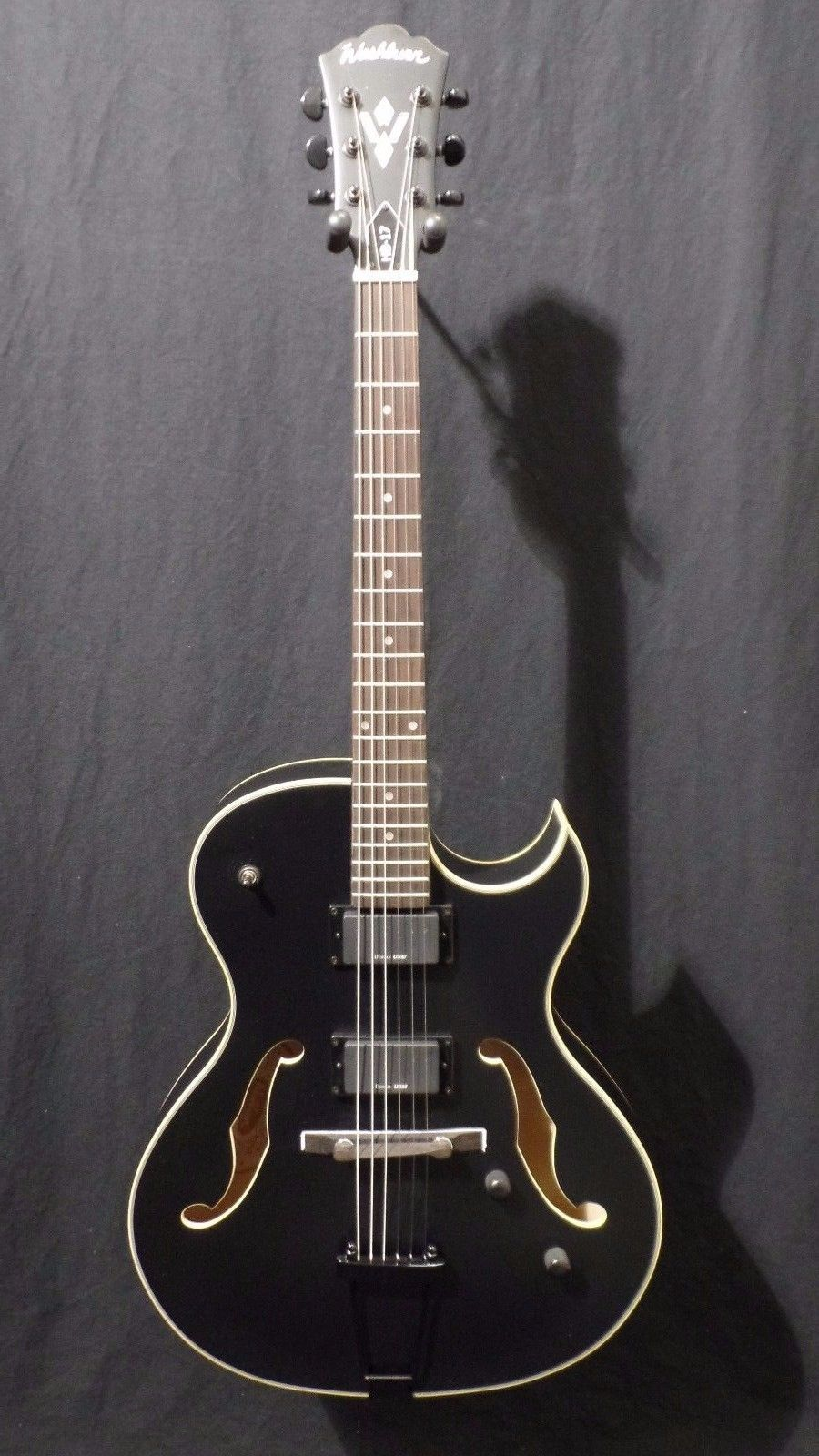 Washburn HB17CBK Hollowbody Electric Guitar in Black with Hardshell Case #1002