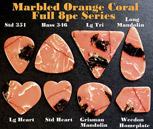 8pc Series Ocean Coral Marbled Vintage Standard Guitar Picks – Rare Art