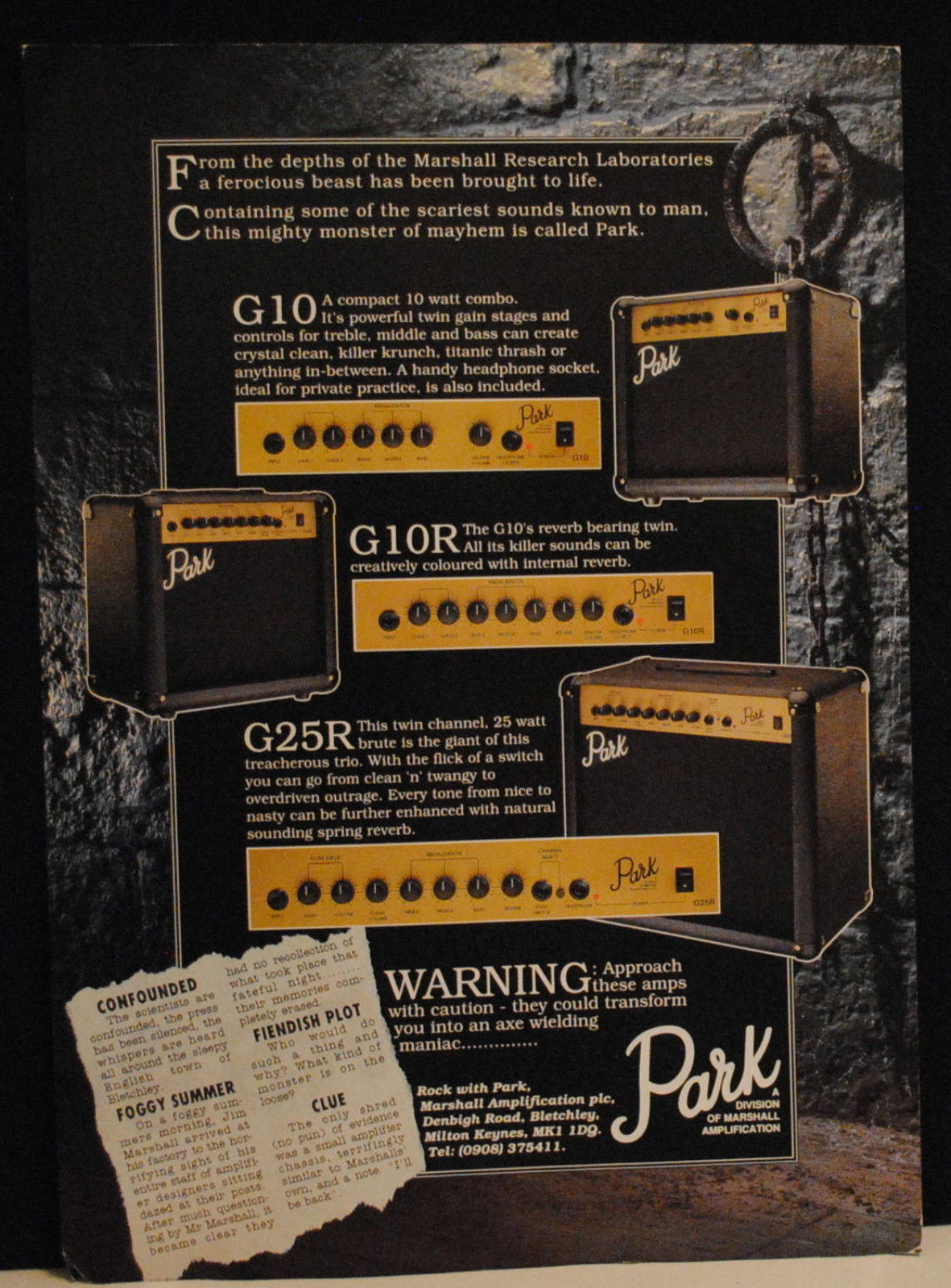 Park G10, G10R, G25R Guitar amplifiers Son of Marshall amps brochure