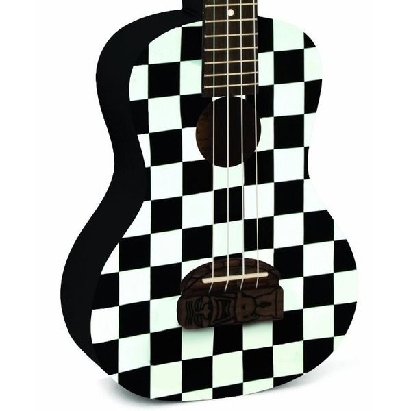 "Kohala ""TIKI"" Bridge Series Ukulele Model #KT-CCB Checkerboard Concert Ukulele"
