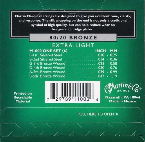 M1000 MARTIN MARQUIS 80/20 Bronze Acoustic Guitar Strings, Extra Light (10-47)