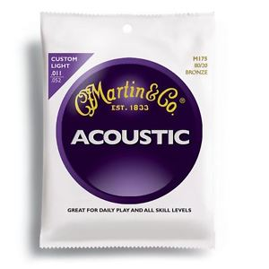 Martin 80/20 Bronze Acoustic Guitar String Set- Custom Light Gauge .011 – .052