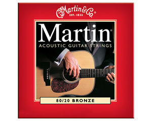 1 x Martin M140 80/20 Bronze Round Wound Light 12-54 Acoustic Guitar Strings