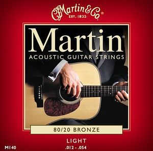 12 SETS MARTIN M140 LIGHT GAUGE ACOUSTIC GUITAR STRINGS 80 20 BRONZE 12-54