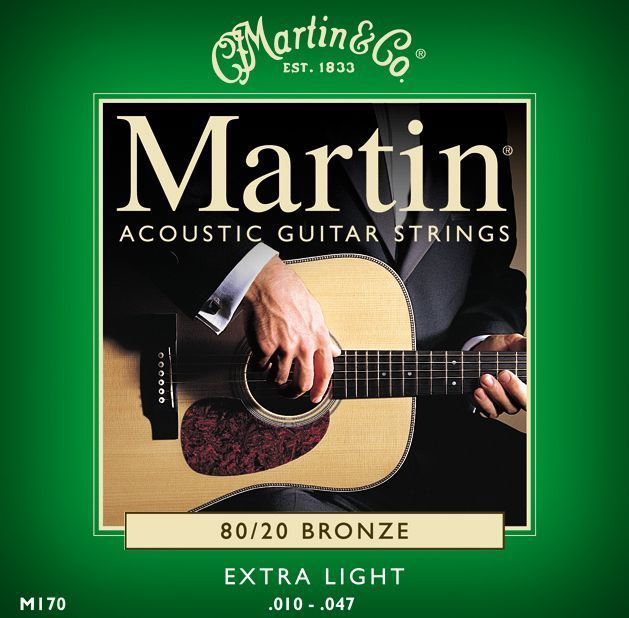 **10 SETS – MARTIN M170 ACOUSTIC GUITAR STRINGS EXTRA LIGHT 80/20 BRONZE **