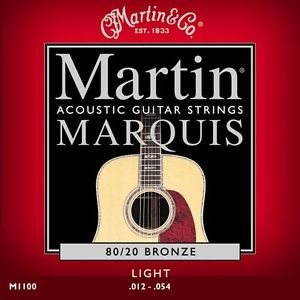 1 SET MARTIN ACOUSTIC GUITAR STRINGS BRONZE LIGHT GAUGE 12-54 M1100