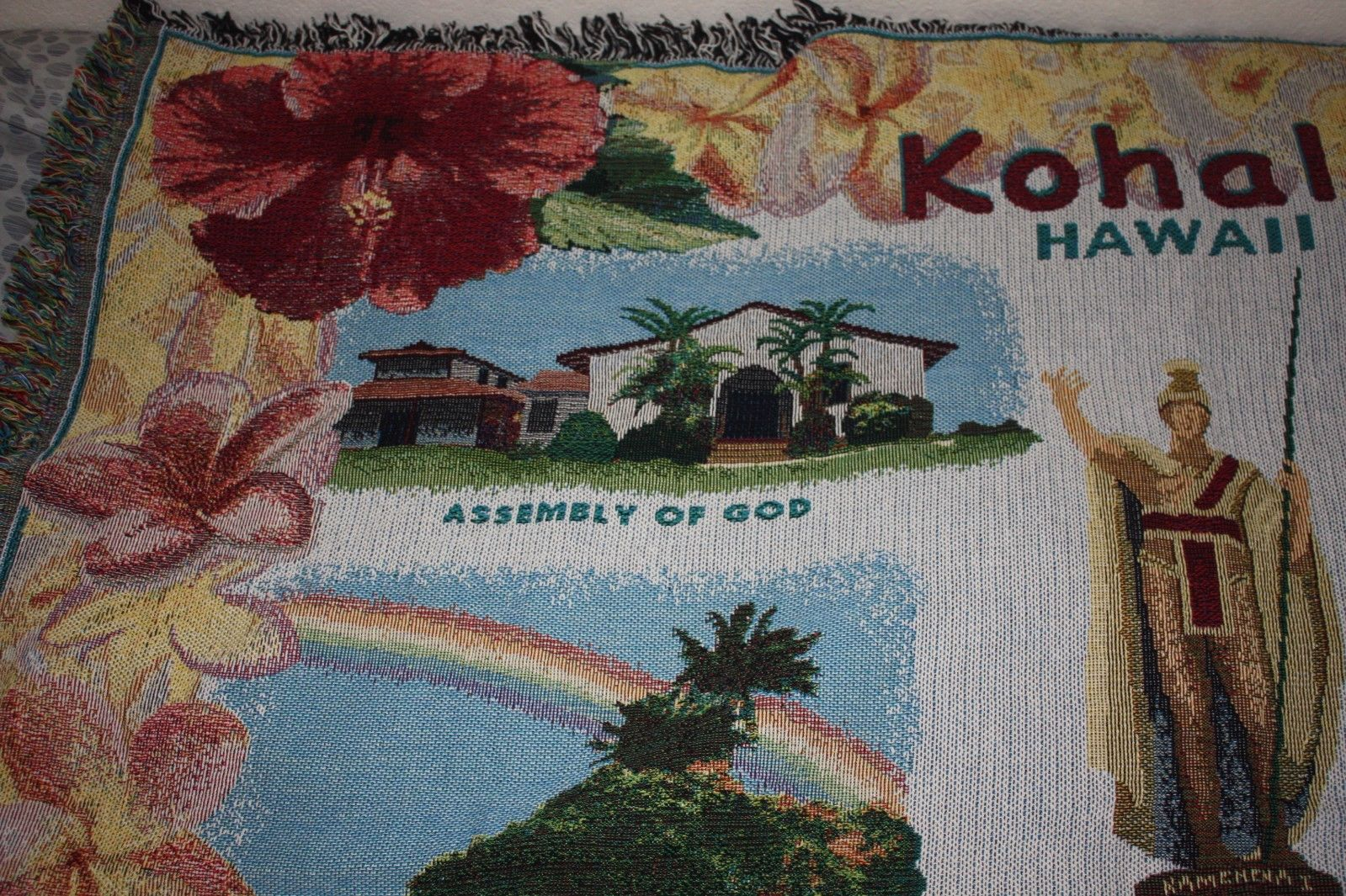 BEAUTIFUL KOHALA HAWAII THROW BLANKET KAMEHAMEHA STATUE CHURCH COTTON
