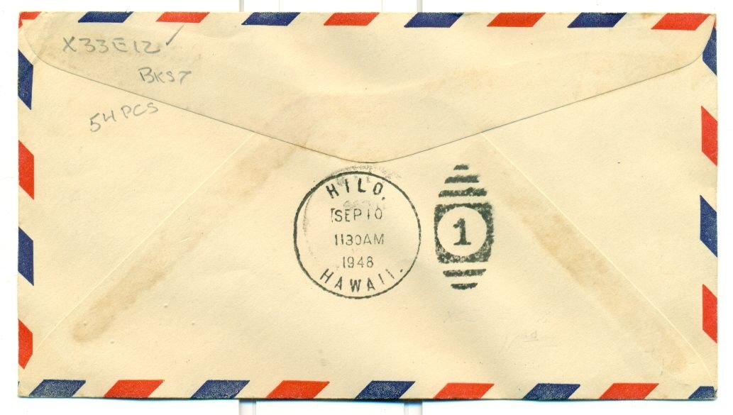 1948 CAM FLIGHT COVER AAMC X33E12 KOHALA,HI. TO HILO HAWAIIAN AIRLINES 54 PCS
