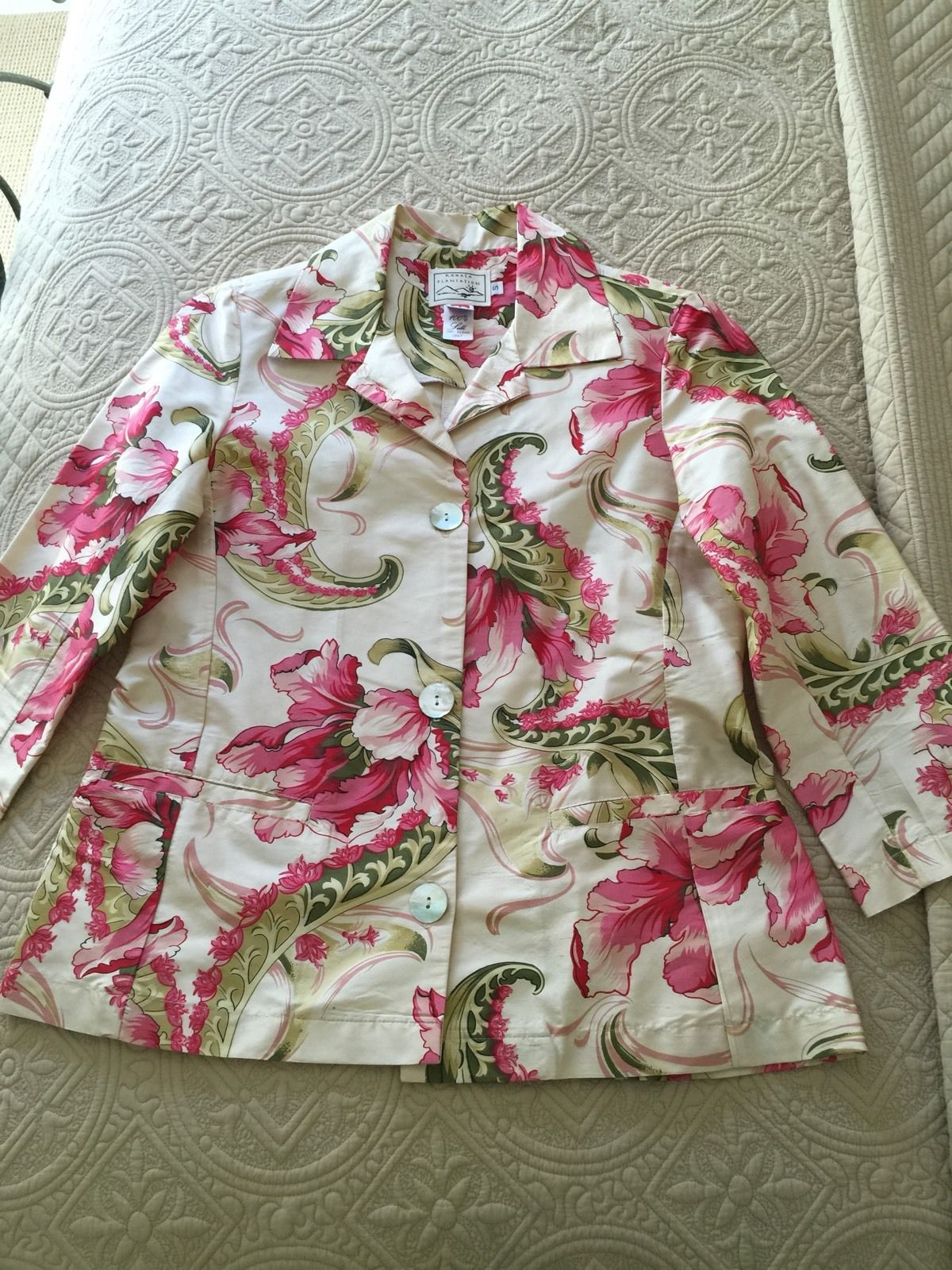 100% Silk Jacket Kohala Plantation Multi-Color Cream Pink Green Floral Blazer S