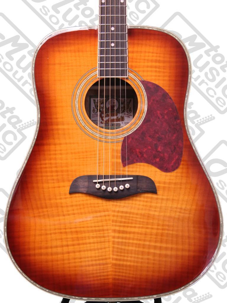Oscar Schmidt OG2 Acoustic Guitar Flame Yellow Sunburst