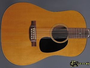 1972 Martin D-1220S Dreadnought 12 String Flattop Guitar – Natural Spruce Top –
