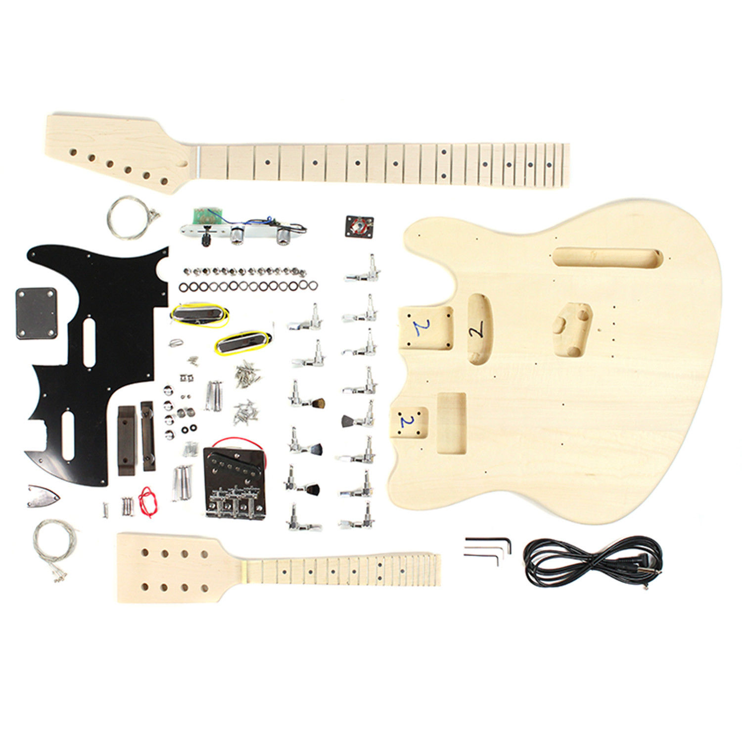 Double Body Style Diy Unfinished Project Luthier Electric Guitar