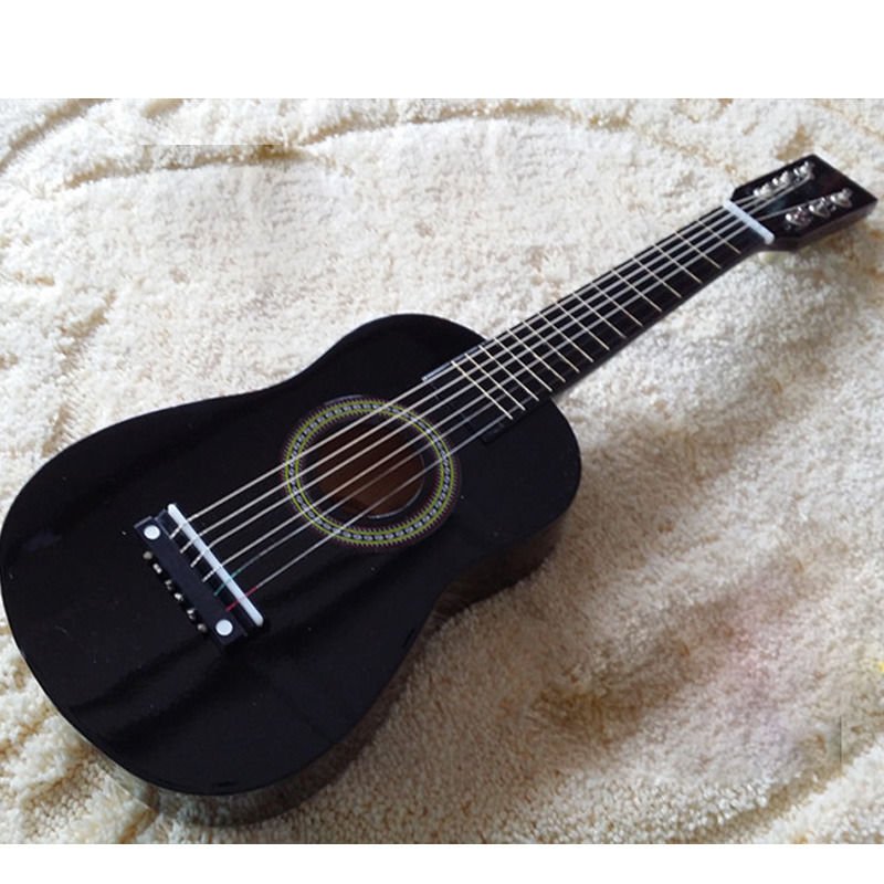 "Black 25"" Beginners Practice Acoustic Pink Guitar w/ 6 String Children Kids"