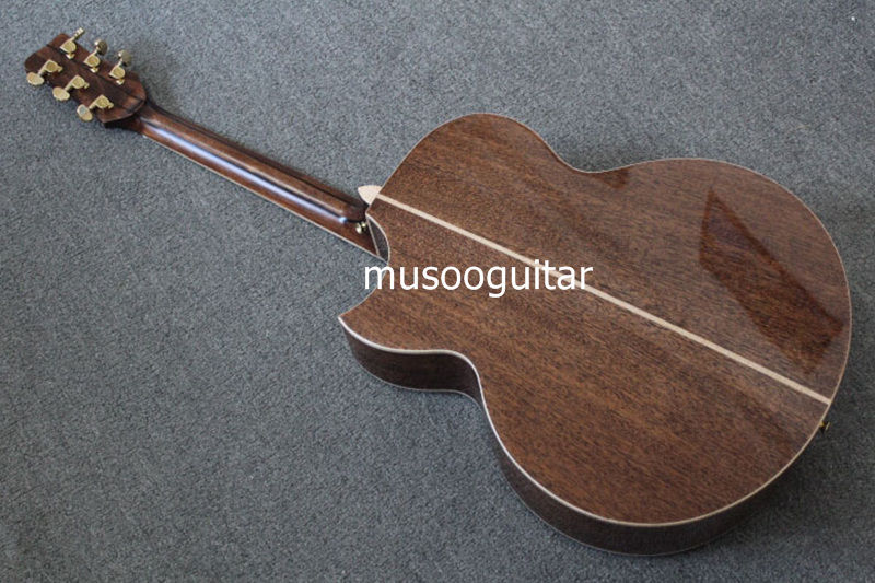 New brand acoustic jumbo guitar with fanned frets by handcraft with bag