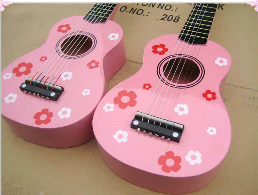 Pink Childrens Acoustic Mini Guitar Kids Music Instruments Gift 6 String Guitar