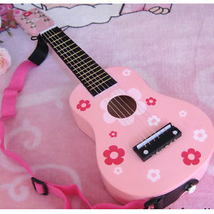 """New 23"""" Beginners Practice Acoustic Pink Guitar w/ Pick 6 String Children Kids"""