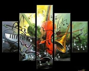 Guitar 5pc Modern Abstract Oil Painting Canvas Hand painted Home DECOR Wall Art