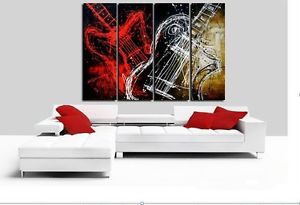 Guitar 4pc Modern Abstract Oil Painting Canvas Hand painted Home DECOR Wall Art