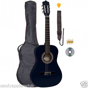 PALMA 3/4 SIZE BLACK CLASSICAL GUITAR KIT Inc BAG, STRAP, STRINGS AND PITCH PIPE