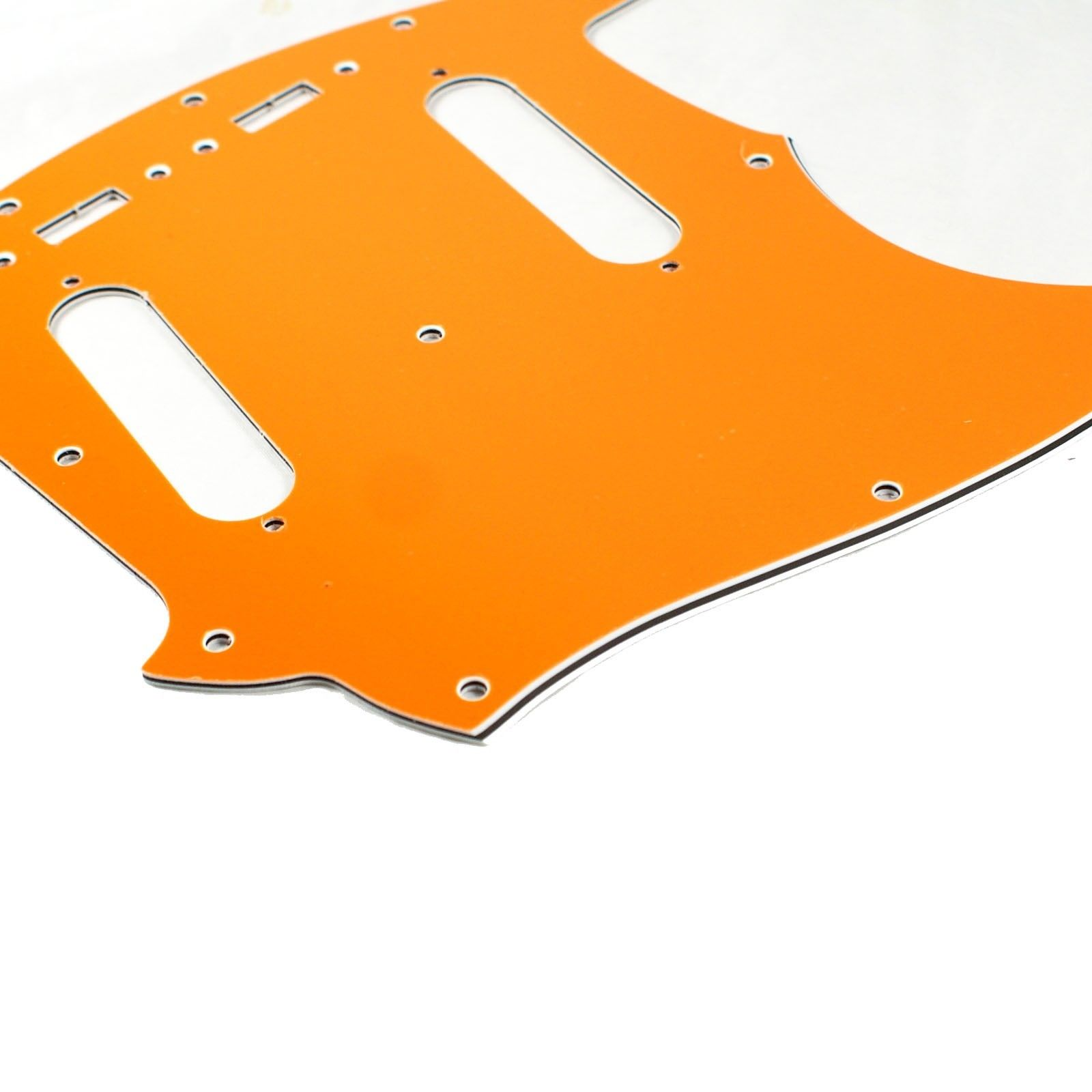 (E66) Custom Guitar Pickguard Fits Mustang Classic Series style ,4 Ply Orange