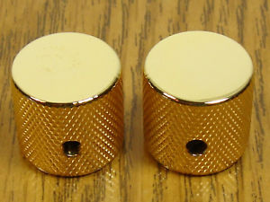 NEW Gold Barrel GUITAR KNOBS Control for Fender USA Tele & Bass Solid Shaft