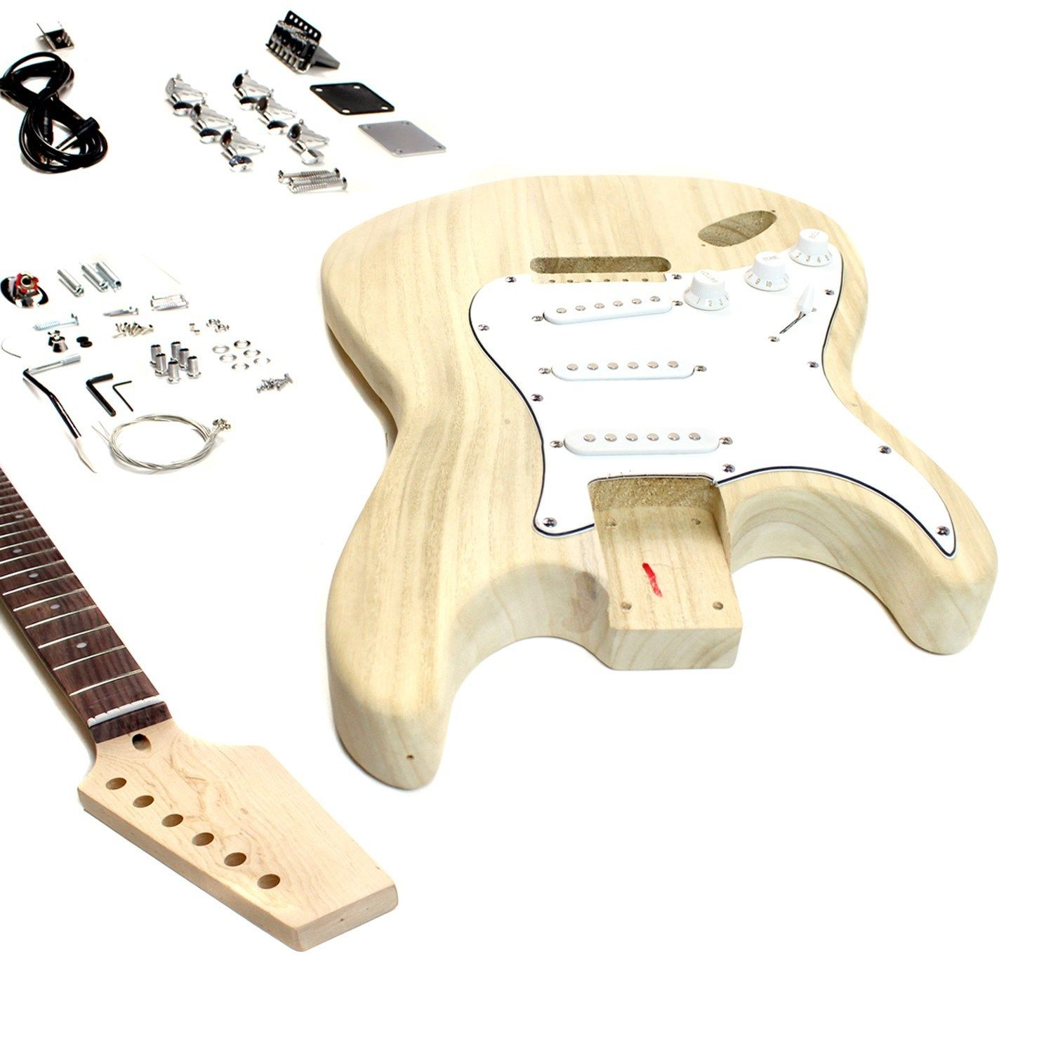 ST Left Hand Body Style – DIY Unfinished Project Luthier Electric Guitar Kit!