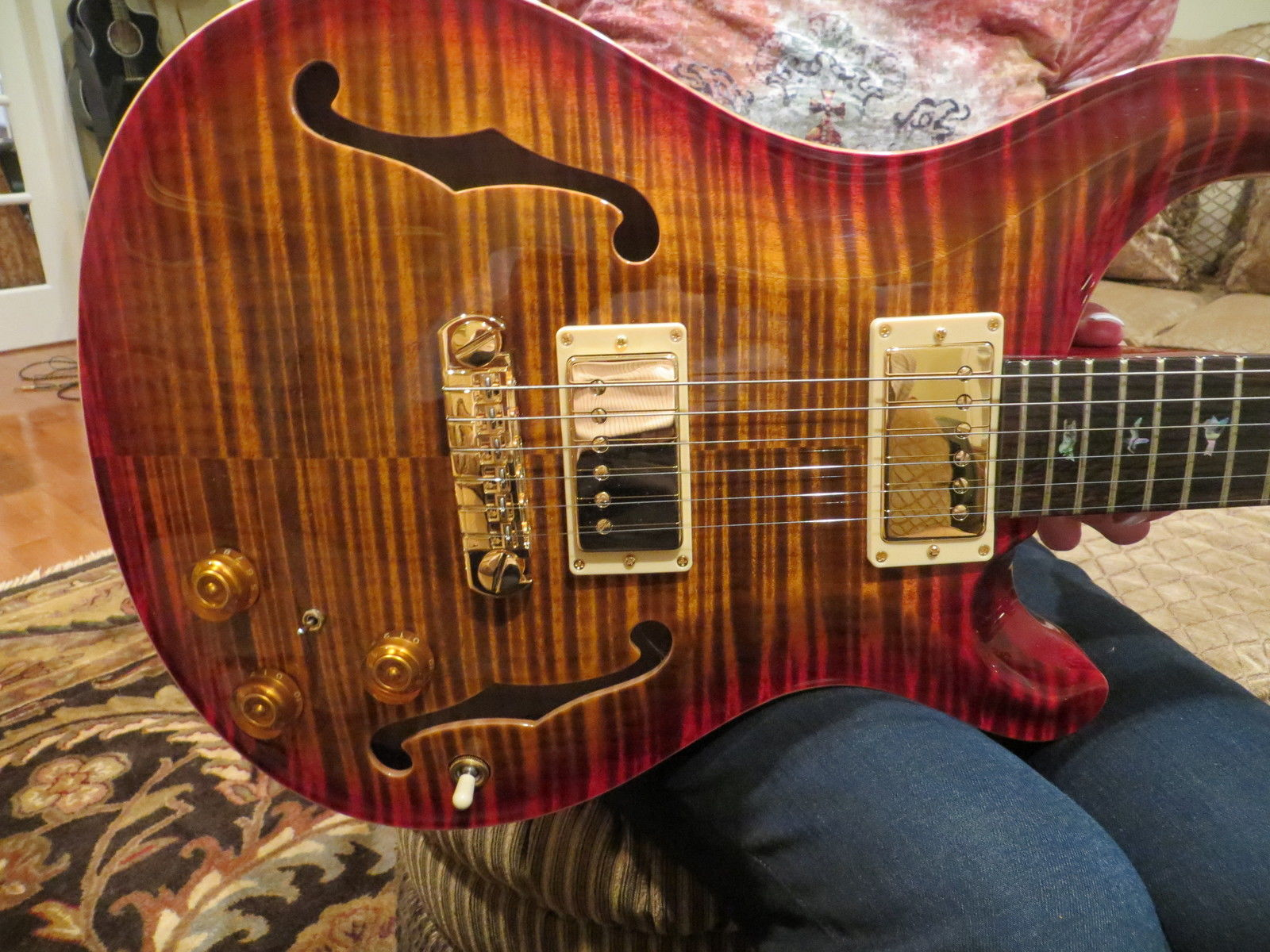 Prs Private Stock Hollowbody 2 Cherry Burst Flame Top Back Brazilian Fretboard