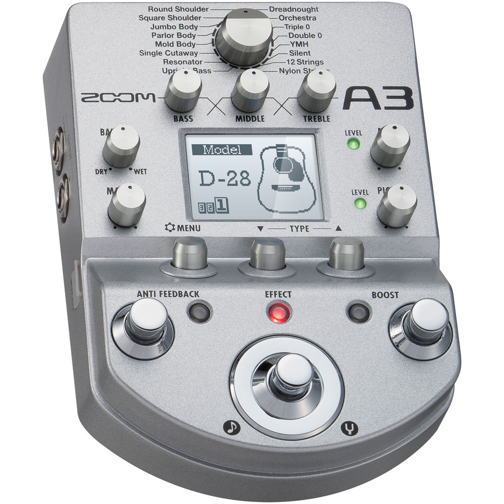 Zoom A3 Acoustic Guitar Preamp and Effects Pedal A-3 PreAmp Modeling Pedal MINT