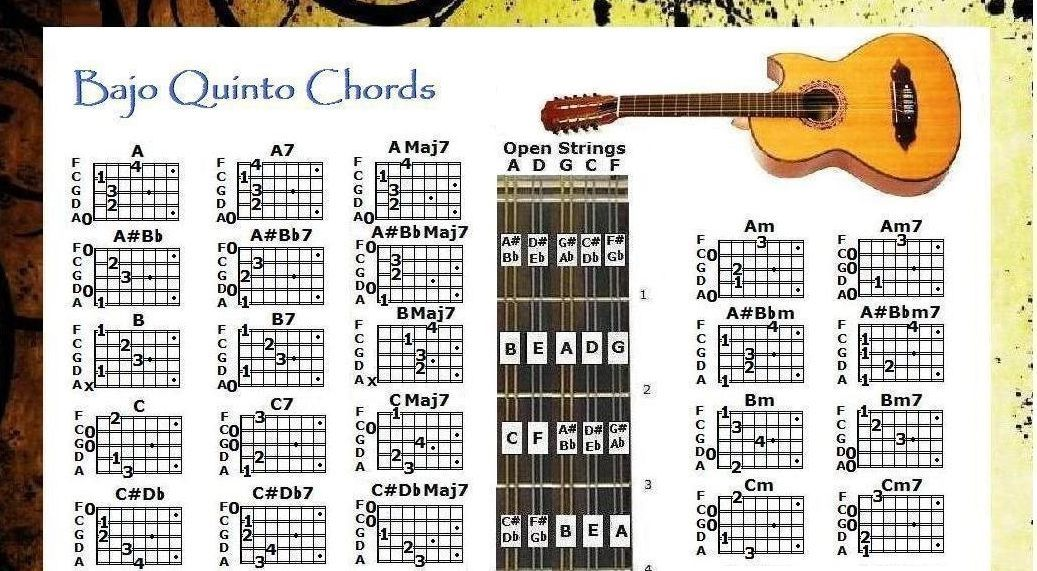 BAJO QUINTO CHORDS POSTER 13×19 NOTE LOCATOR & 5 POSITION LOGO