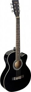 Stagg SA20ACE BLK Auditorium Cutaway Acoustic-Electric Guitar – Black