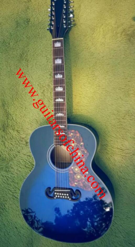 Chibson j 200 j200 12 string acoustic guitar-blue