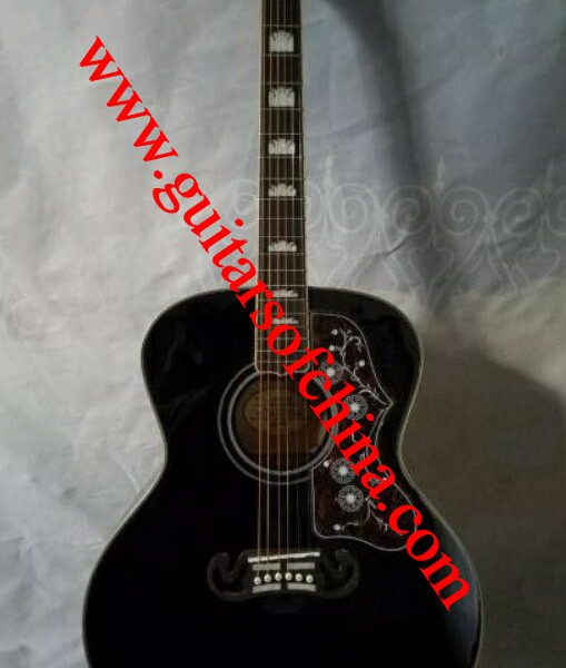Chibson j 200 acoustic guitar all solid wood-black 1