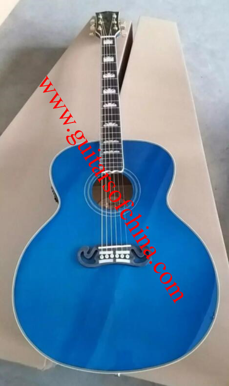 Chibson j200 sj-200 acoustic guitar-blue