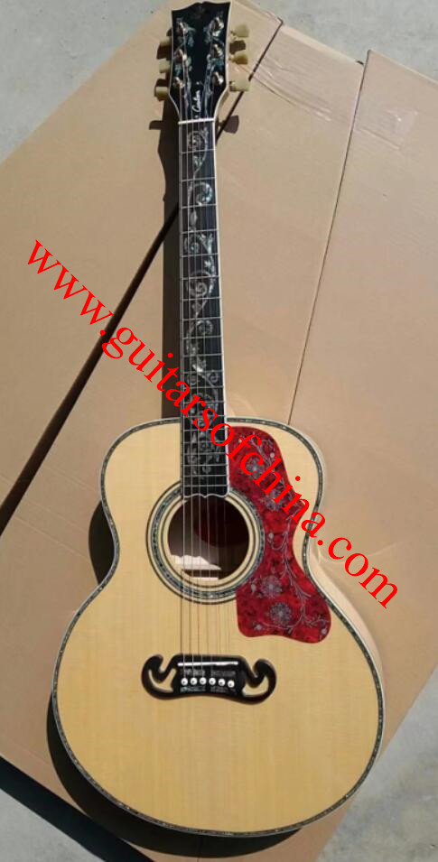 Chibson sj-200 acoustic guitar vine inlays custom shop j 200