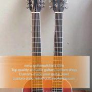 High-end customized double neck all solid wood guitar top quality (3)
