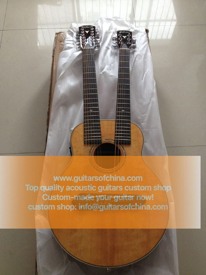 High-end customized double neck all solid wood guitar top quality