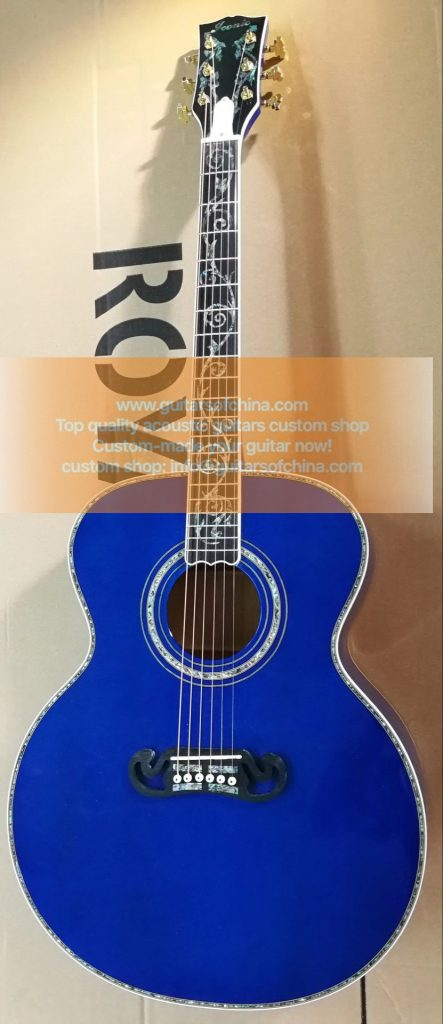 custom-made chibson jumbo j200 sj-200 acoustic guitar blue